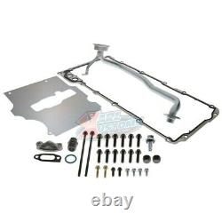 Black LS RetroFit Aluminum Rear Sump Oil Pan WithAdded Clearance With Turbo Drains