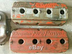 HEMI 331 354 392 Valve Covers (2) Center Sump Oil Pan Front Timing Cover