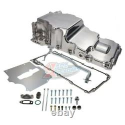 Polished LS Swap Aluminum Rear Sump Oil Pan WithAdded Clearance With Turbo Drains