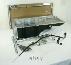 Retro-Fit LS Swap Aluminum Rear Sump Oil Pan With Dipstick Black